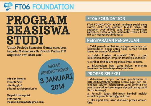 INFO BEASISWA DESEMBER - FT06 FOUNDATION